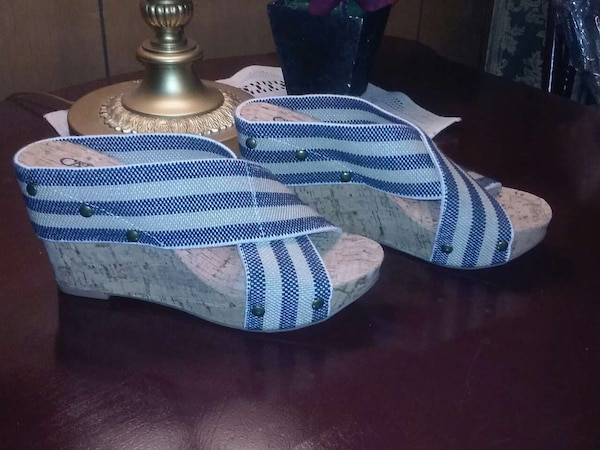 f28f21c22 Used pair of blue white and brown cork open tie wedge s for sale in Klondike