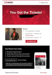 2 KHALID TICKETS( NEXT TO EACHOTHER) FOR THIS FRIDAY Syracuse