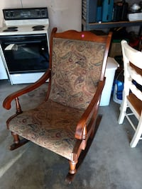 brown wooden framed white and gray floral padded armchair Columbus, 43213