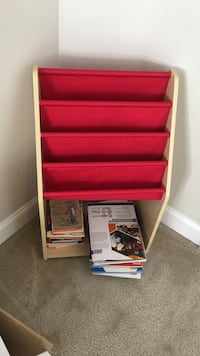 Red wooden 5-layer shelf good condition. Raleigh, 27603