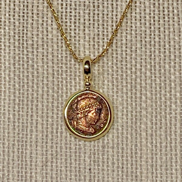 Genuine 14k Gold Roman Coin Pendant with 14k Rope Chain 33eb8907-deb2-447d-99ea-809a6dee0f49