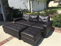 Black leather sectional couch with ottoman Simi Valley, 93065