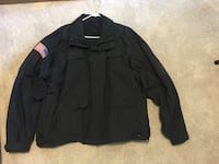 Black police blazer system zip-up jacket with U.S.A. flag patch Methuen, 01844