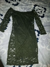 women's olive green floral lace long-sleeved dress Racine, 53403