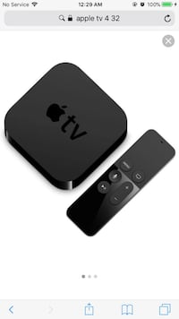 black Apple TV box with remote