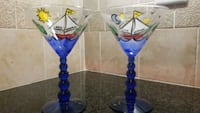 blue and clear glass candle holder Huntersville, 28078