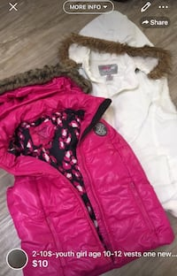 2-10$-youth girl age 10-12 vests one new condition with tags one barely used London, N5W 6E2