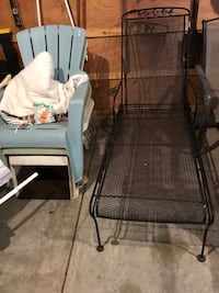 Black wrought iron outside lounge chair. Bristol, 46507