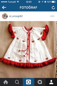 İnfant's white and red knitted dress