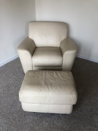 Ivory leather chair and ottoman