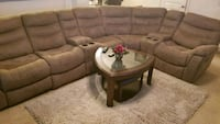 brown leather sectional sofa with coffee table Atlanta, 30342
