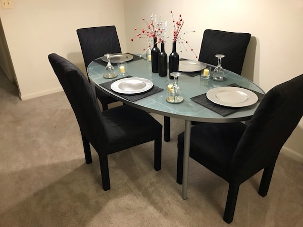 IKEA Oval Shape Frosted Glass Dining Table