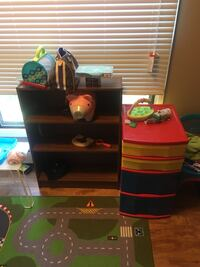 Two storage containers , Bookshelf , two children's chairs one pink one blue ( contents not included ) must take all items together  Calgary, T2W