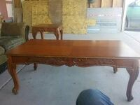 rectangular brown wooden coffee table Las Cruces