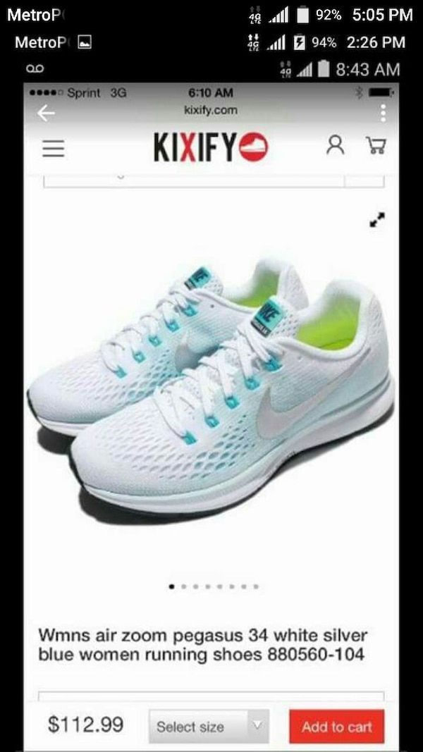 Used WOMENS NIKE AIR ZOOM PEGASUS 34 RUNNING SHOES WHOL for sale in ... df15f3404