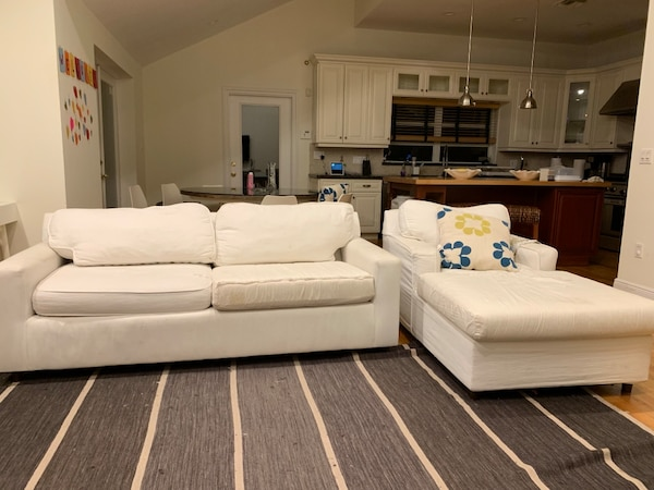 White couch and chair