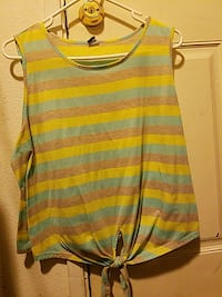 yellow, blue, and red striped tank top