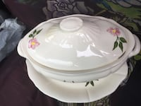 oval white and pink ceramic floral casserole dish with lid Edmonton, T6L 1Z3