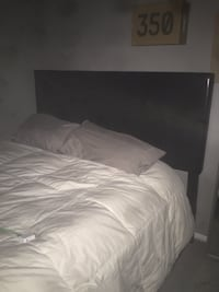 Queen size leather bed frame with head board and foot board