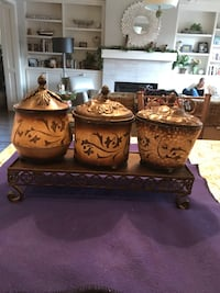 3 Piece Metal Canisters Set And Metal Stand