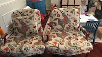 Pair of floral oversized, clubs chairs