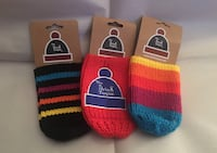 "SHOW YOUR PRIDE- ""The Drink Toque"" Knitted Drink Insulators x3"