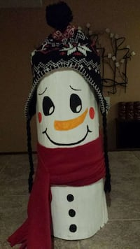 white and red snowman decor