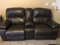 Leather reclining sofa with center console Chandler, 85224