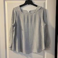 RW black and white striped blouse Sz XL