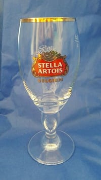 Stella Artois 40cl Glass Chalice BELGIUM Beer with gold rim. Never used!! Bowie