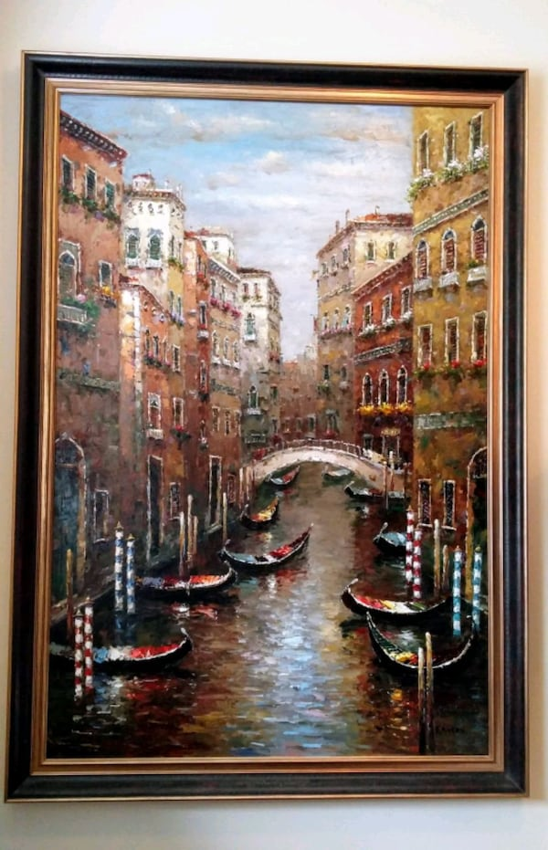 Beautiful large painting of Italy's Venice Canal bcdfa01a-da58-425a-a0c3-5f48871c7746