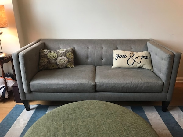 Gray mid century couch