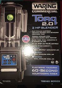TORQ 2.0 2-HP BLENDER WITH ELECTRONIC TOUCHPAD CONTROLS AND 60-SECOND COUNTDOWN TIMER $595 plus tax brand new  Priced for only $150 Toronto, M3H 6C6
