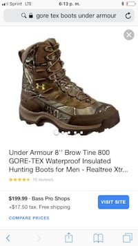 "Under Armour 8"" Brown Tine 800 GORE-TEX hunting boots screenshot"
