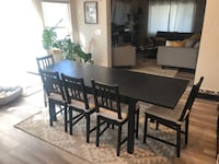 Black wooden extendable Ikea dining table w/bench & 5 chairs. $200 OBO Los Angeles, 90062