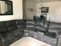 Gray leather Sectional with 2 end Recliners  Laurel