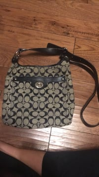 black and gray Coach monogram hobo bag Rochester, 15074
