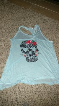 women's gray Calavera print razer back tank top