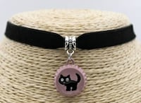 NEW 3 PC Cat Black Velvet Choker Silver Tone Jewelry Lubbock