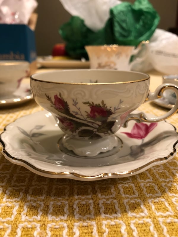 Rare and unique tea cups and saucers.  Some from Germany. England and France.  Free delivery.    8566acf0-7a28-46b9-8792-e2b7654da99b