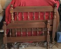 Brown wooden framed headboard, footboard with side rails. Great condition FREE Gaithersburg, 20882