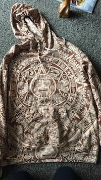 brown, gray and white tribal-print pullover hoodie