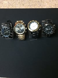 four round assorted chronograph watches with link bracelets