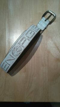Men's white leather belt