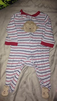 baby's grey, red, and blue striped footie pajama Mary Esther, 32569