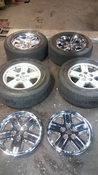 265/60/16 Tires and aluminum wheele with chrome covers. From 2008 dako Baltimore, 21215