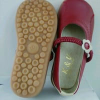 NEW Girls red with flower leather K & V shoes SIZE Edmonton, T6X 1J9