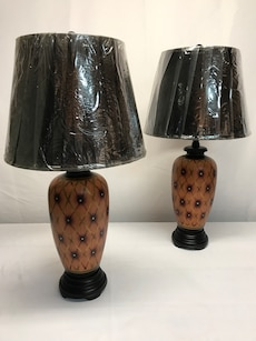 New Brown with Gold Trim Table Lamps