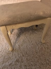 Queen Anne Style footrest ottoman crackle wood finish