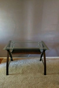 rectangular glass top table with black metal base Severn, 21144